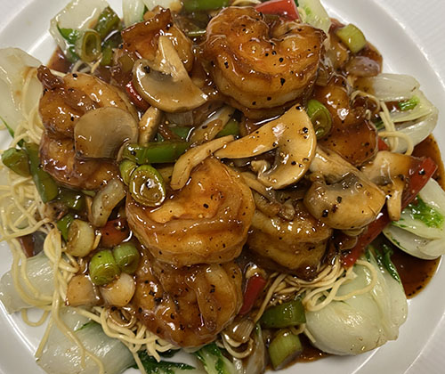 Shrimp over Baby Bak Choy, Noodles w.Black Pepper Sauce