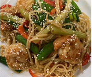 38a. Sesame Seed Jumbo Shrimp Lanzhou Lo Mein(Noodles)